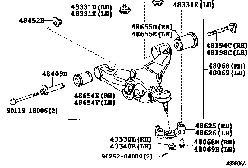 Фото 4 - 4865460040 48654-60040 Оригинал саилентблок передний переднего нижнего рычага Toyota Land Cruiser LC 200 Lexus LX 570